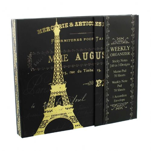 Tricoastal 'Paris Nights' Decorative Hardback Organiser - Pretty Notebook Organiser Gift For Teachers